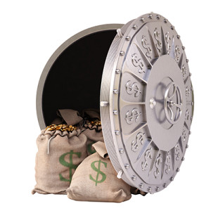 open a bank vault with bags of gold coins. isolated on white.