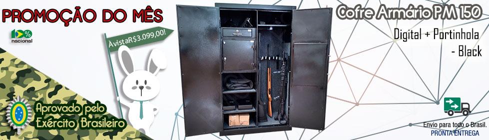 Cofre Armário PM 150 Digital + Portinhola – Black  Promoção do Mês